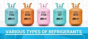 Various types of refrigerants