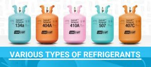Various types of refrigerants